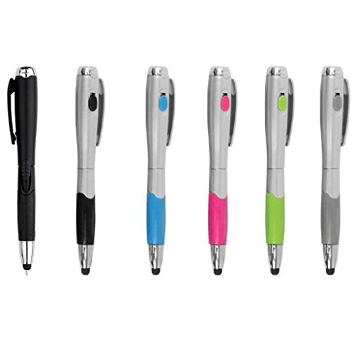 Stylus [6 Pcs], 3-in-1 Universal Touch Screen Stylus + Ballpoint Pen + LED Flashlight For Smartphones Tablets iPad iPhone Samsung etc