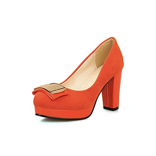 BalaMasa Ladies Charms Chunky Heels Low-Cut Uppers Platform Suede Pumps Shoes Red pA7I6T