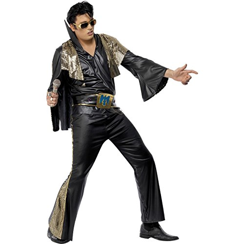 Elvis Costume, Black & Gold, With Shirt, Trousers, Cape &...