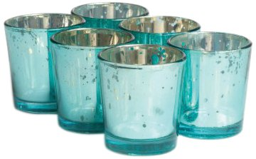Koyal 6-Pack Antique Votive Cup, Aqua (Tealight Hanging Glass Wholesale Holders)
