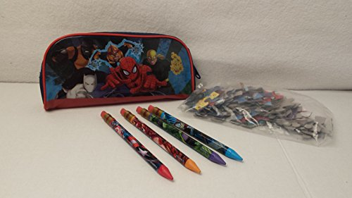 [Christmas Holiday Marvel Spiderman Avengers Pencil Case Marvel Spiderman Avengers Pizzel 4 Marvel Pencils with Replacement lead and 2 Replacement erasers Kids Toddlers Elementary] (Homemade Cupcake Costumes For Adults)