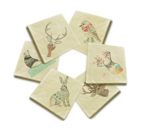 Animals in sweater 1 Printed Cotton Linen Craft Dinner Napkins VHN_01 Lot of 6 by Vietsbay