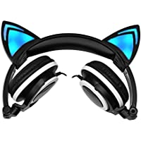 Divine Music 4 U Kids Headphones.Noise cancelling LED fashion cat ear headphones for kids.On-ear headphones-Girls or boys-Universal-3.5mm stereo plug-quality sound clear bass elegant radiant foldable