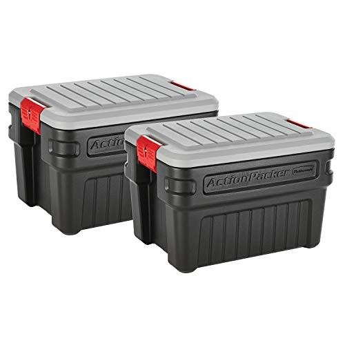 - Rubbermaid ActionPacker️ 24 Gal Lockable Storage Box Pack of 2, Outdoor, Industrial, Rugged, Grey and Black