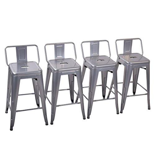 Yongchuang Metal Counter Height Bar Stool for Indoor-Outdoor(Pack of 4) Silver Low Back, 26