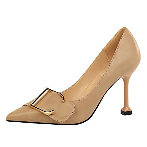 avec sexy taille et chaussures Abricot Chaussures à chaussures des talons pointus les États Couleur ALUK Noir Shoes hauts 37 professionnelles pour L'Europe Unis long235mm femmes CW6w8