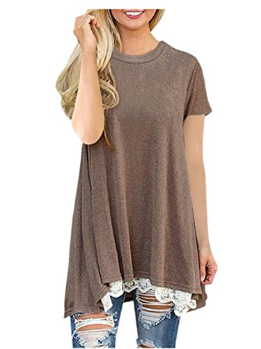 - Women Shirt Dress Short Sleeve,Lelili Fashion Lace Patchwork Crewneck Pleat Swing Blouse Tops Sweatshirt (M, Coffee)