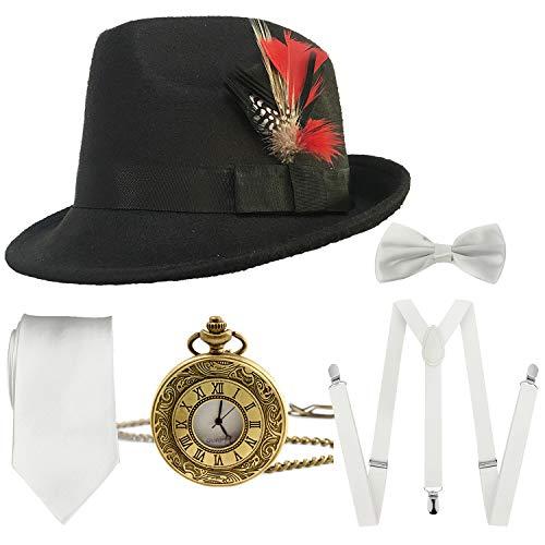 1920s Mens Gatsby Costume Accessories,Manhattan Fedora Hat w/Feather,Vintage Pocket Watch,Suspenders Y-Back Trouser Braces,Pre Tied Bow Tie,Tie (Black-White)]()