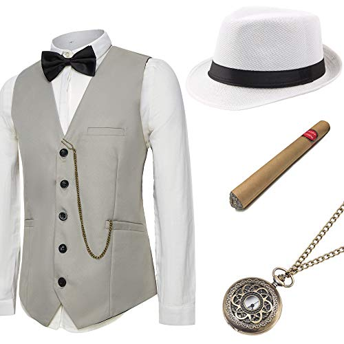 BABEYOND 1920s Mens Gatsby Gangster Vest Costume Accessories