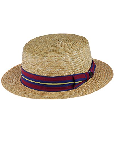 NYFASHION101 Unisex Grosgrain Ribbon Straw Skimmer Boater Hat, Multicolored Striped