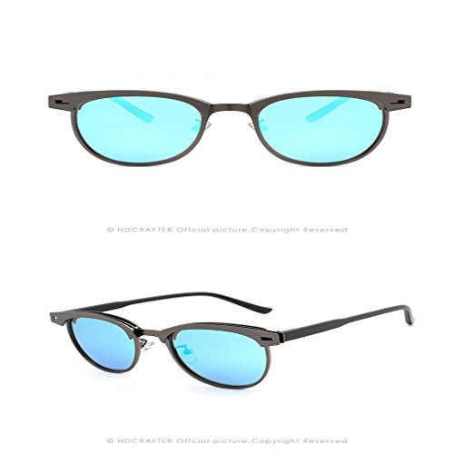 Sunglasses Driving Black Half Sunglasses Moda Metal LUHUIYUAN Polarized Classic Frame Blue 61wBRExEq