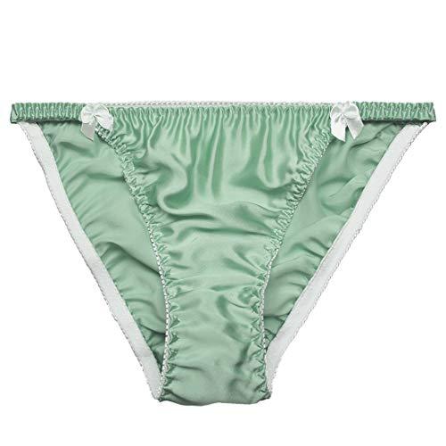 Farlenoyar Women Sexy Summer Soft Smooth String Bikini Briefs Beach Swimming Underwear (S(Tag M), Green)