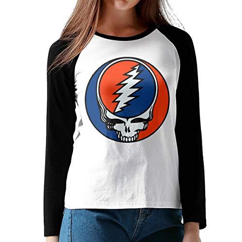 - NEST-Homer Women's Long Sleeve T-Shirts Grateiful Dead Raglan Baseball Tee Black