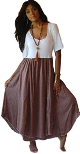 axi Stretched Lycra Bodice Chiffon Skirt White Taupe 3X B178 (Bodice Chiffon Skirt)