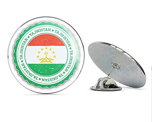 """Tajikistan Flag Grunge Rubber Stamp Round Metal 0.75"""" Lapel Pin Hat Shirt Pin Tie Tack Pinback"""