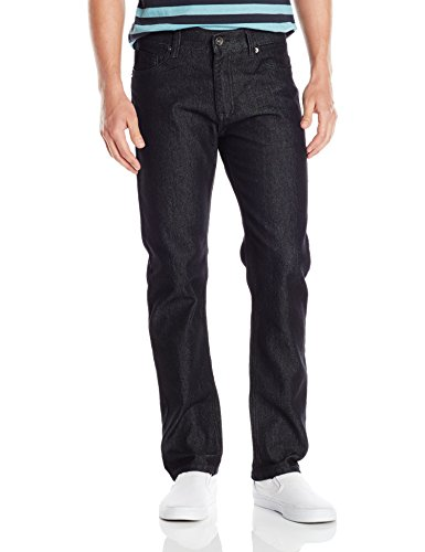 Southpole Men's Flex Stretch Basic Twill and Rinse Denim Pants, Black, 36x32