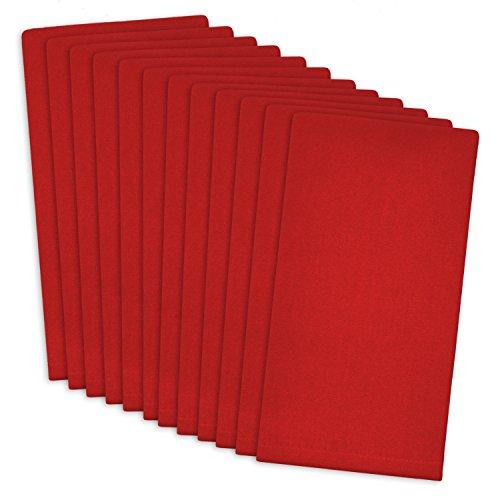 DII 100% Cotton, Machine Washable Everyday Basic Buffet Napkin, 16 x 16, Tango Red, Set of 12