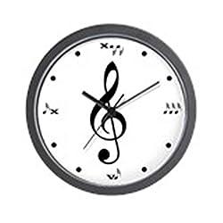 CafePress - Black and White Treble Clef Wall Clock - Unique Decorative 10 Wall Clock
