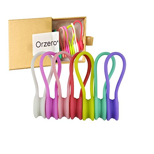 [7 Pack] Orzero 7 Candy Colors Magnetic Cable Winder Wrap Cord Organizer Soft Silicone for Earphone Cell Phone Pad USB Data Cable Use as Bookmarks Keychain (Cell Phone Orgainzer)