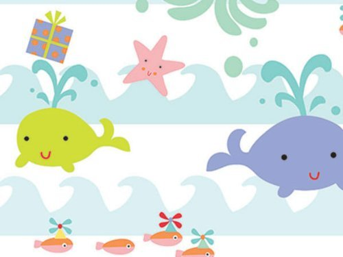 SEA BABIES Baby Girl or Boy Gift Wrap Wrapping Paper 16 Foot Roll -