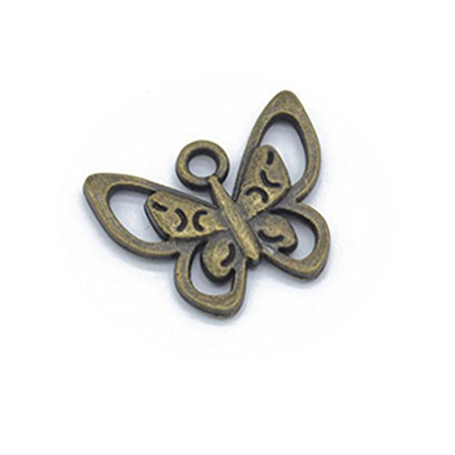 10 PCS Butterfly Charms, Small Insect Pendants, antique silver , Bronze (Silver Small Butterfly Charm)