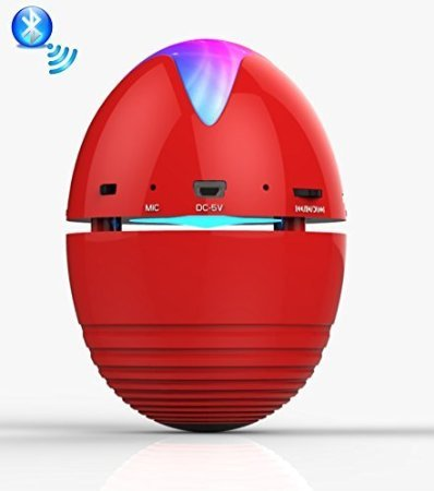DR 929 Portable Bluetooth Mini Stereo Speaker - Red Egg Shape Rechargeable Led Lights, Hands Free Calling, Radio & mp3 music, iPhone, Apple iPad, Android Phones & Tablets (Best Buy Gift)
