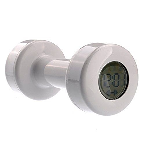 (ESMART Shape Up Dumbbell Alarm Clock Barbell Clock Work Out Buddy, White)