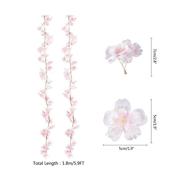 Oceanpax Artificial Cherry Blossom 6pcs Silk Flower Garland Pink Hanging Vine for Wedding Party Home Decoration