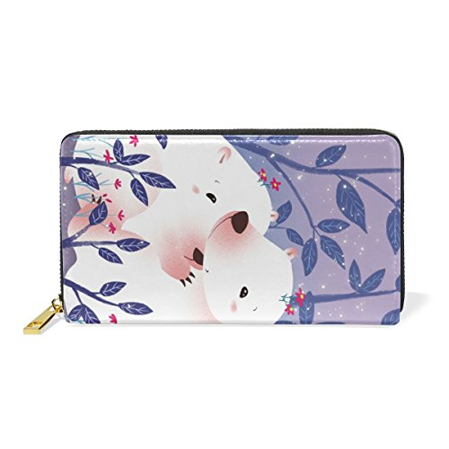 Leather Purse Wallet for Women Long Zipper Clutch Wallet with Couple White Bear Phone Passport Checkbook Card Holder Handbags by THENAGD