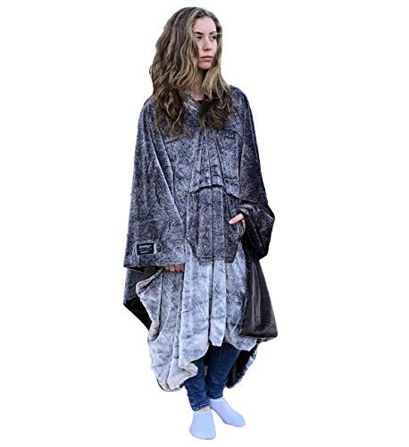 (throwbee Luxury Blanket-Poncho Faux Fur Reversible (Yay! NO Sleeves) Wearable Throw The Most Comfortable Softest Ever Indoors Outdoors - Adults Men Women Kids)