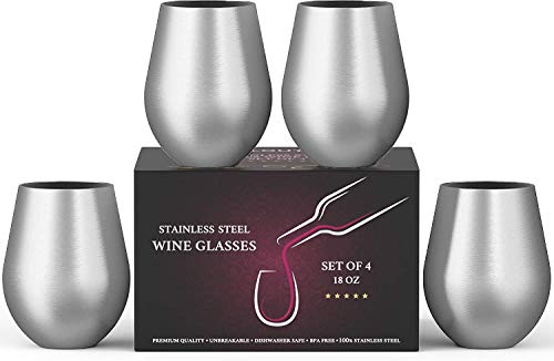 Stainless Steel Wine Glasses Set of 4, 18 oz | Stemless metal wine glasses 4 pack | Unbreakable, Dishwasher Safe, BPA Free, Great for Indoor & Outdoor Use | Steel Wine Cups - Perfect Gift (Wine Steel Stainless Glasses)