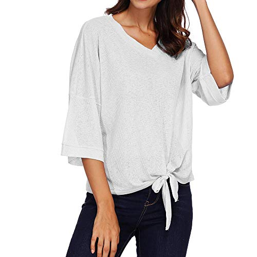 Kulywon Women Autumn V Neck 3/4 Sleeve Bandage Solid Top Casual Blouse Tops T-Shirt