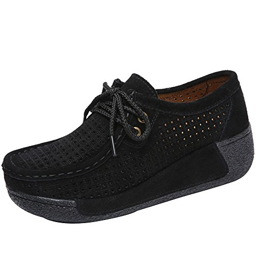 Shoes For Womens -Clearance Sale ,Farjing Women Hollow Round Head Flat Breathable Leisure Sports Shoes Shake Shoes(US:8,Black)