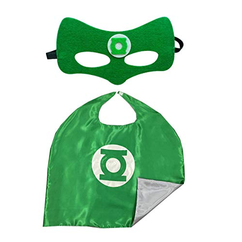 Bek Brands Green Lantern Superhero Cape and Mask Set | Dress up Satin Cape and Felt Mask, Costume for Kids -