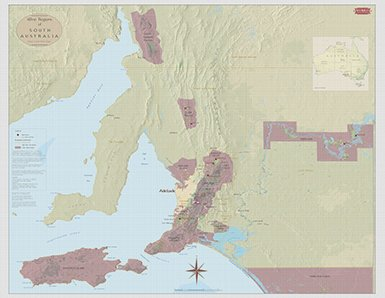 Mclaren Vale Shiraz (Wine Art - Wine Region Map of South Australia - Adelaide to South Flinders)