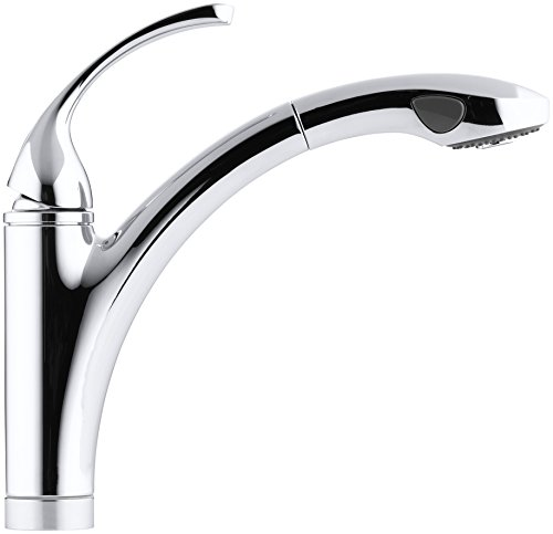 KOHLER K-10433-CP Forte Single Control Pullout Kitchen Sink Faucet with Color-Matched Sprayhead and Lever Handle, Polished Chrome - smallkitchenideas.us