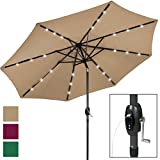 Best Choice Products 10ft Solar LED Market Patio Umbrella w/USB Charger, Detachable Portable Power Bank, Weather-Resistant Canopy, Easy Crank, Tilt Adjustment