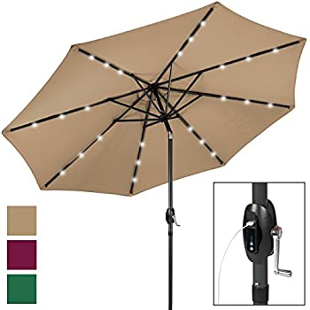 Best Choice Products USB Charger/Portable Power Bank 10u0027 LED Lighted Patio  Solar Umbrella