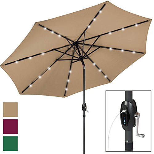 Best Choice Products 10ft Solar LED Patio Umbrella w/USB Charger, Portable Power Bank, Tilt Adjustment - Tan (Umbrella Patio Led)