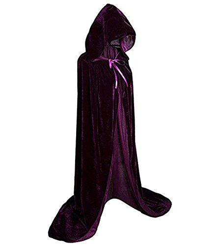Devil Costume Contacts (JoinPro Unisex Halloween Hooded Cape Vampire Demon Devil Pirate Cosplay Costume Dress Velvet Cloak for Adults and Kids (S/43