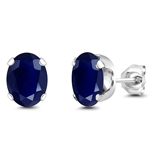 Gem Stone King 925 Sterling Silver Blue Sapphire Gemstone Birthstone Stud Women's Earrings (3.58 Cttw, 8X6MM Oval)