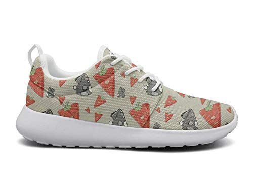 Womens Ultra Lightweight Breathable Mesh Athleisure Sneakers Cute Gray Rabbit with Big Red Carrot Fashion Walking Shoes -