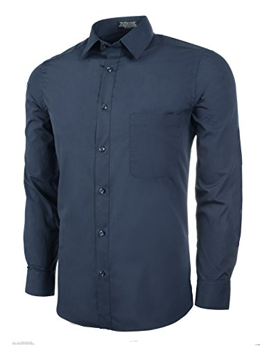 (Marquis Men's Slim Fit Dress Shirt - Navy, 2X-Large 17-17.5 Neck 34/35 Sleeve)
