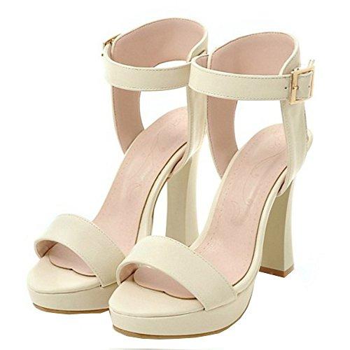 RAZAMAZA Mujer Moda Correa de tobillo Slingback Sandalias Tacon Ancho Plataforma Zapatos Beige