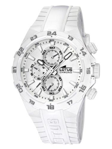 Lotus 15800/5 - Reloj analógico de cuarzo para hombre con correa de plástico, color blanco