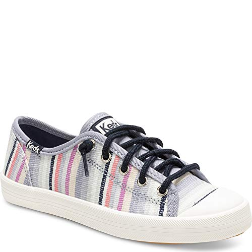 Keds Girls' Kickstart Seasonal Toe Cap Sneaker, Relaxed Multi Stripe, 10.5 M US Little Kid