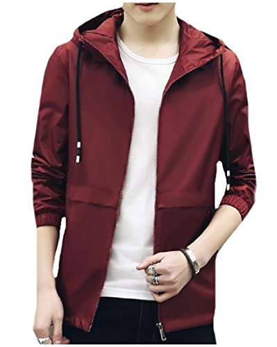 Jacket Zip Howme Men Wine Top Front Original Red Stretchy Fit Hooded Wild q1p1gXw8