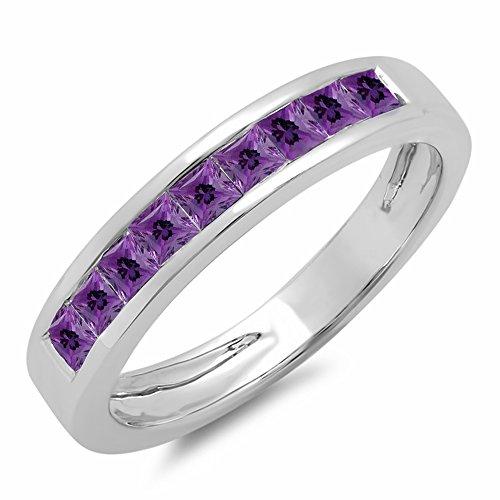 - 0.75 Carat (ctw) 10K White Gold Princess Genuine Amethyst Ladies Wedding Stackable Ring 3/4 CT