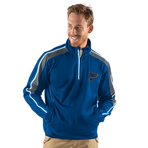 NHL St. Louis Blues Men's Synergy Half Zip Pullover Jacket, Medium, Royal Louis Jacket