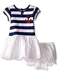 Baby Girls' Nautical Striped and Eyelet Dress